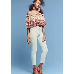 Anthropologie Levi's Mint Wedgie High Rise Jeans